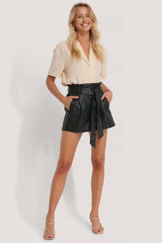 PU Belted Shorts Black