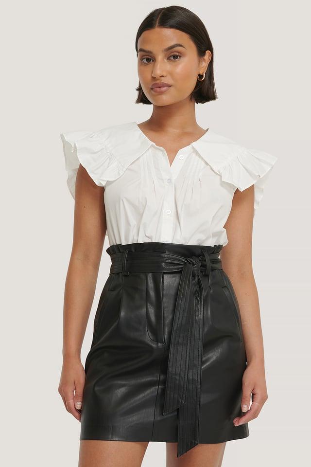 PU Belted Skirt Black