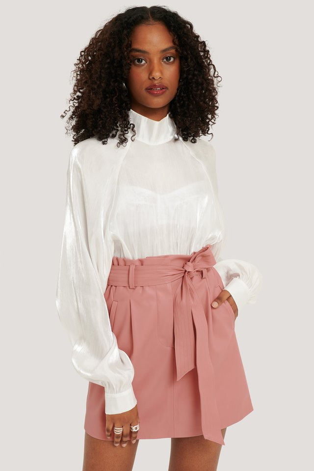 PU Belted Skirt Dusty Pink