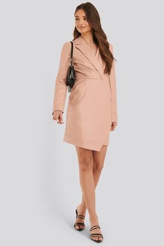 Dusty Pink PU Blazer Dress