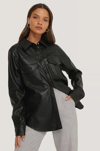 Black Camisa De Pu Con Bolsillos Dobles