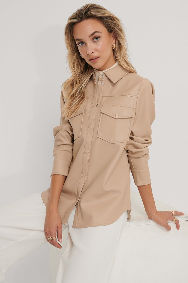 PU Double Pocket Shirt Beige