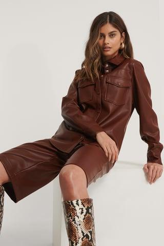 Burgundy Pu-Skjorte Med Dobbellommer