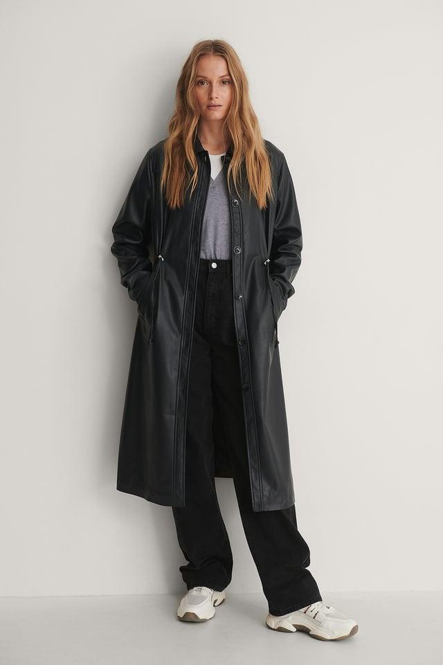 Black PU Drawstring Jacket