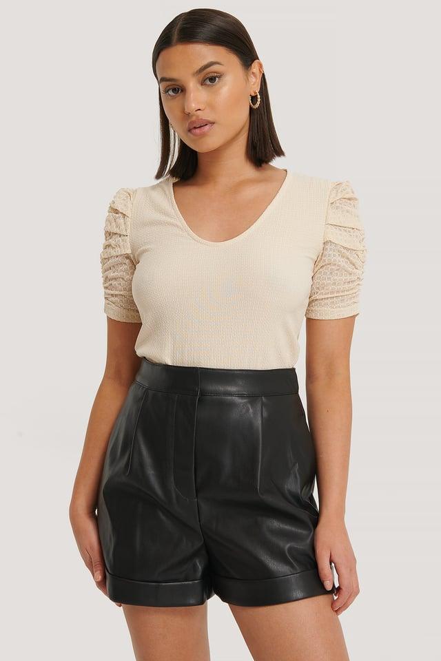Black PU Folded Shorts