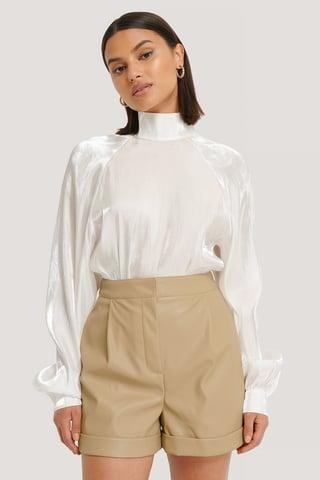 Beige PU Folded Shorts