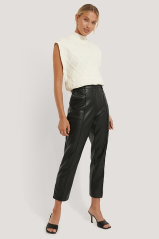 Black Pantalones Cortos De Pu De Talle Alto