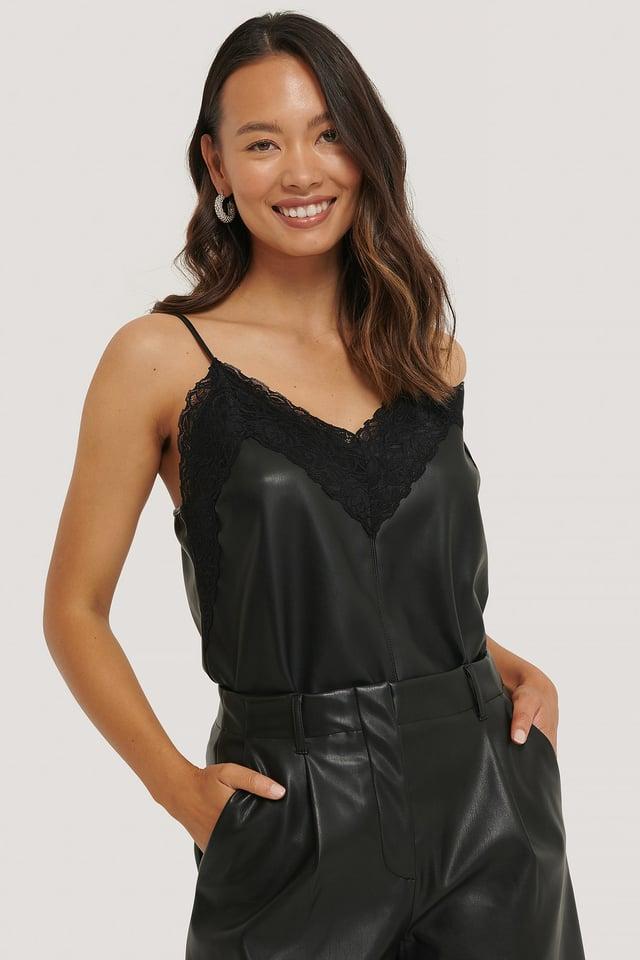 PU Lace Singlet Black