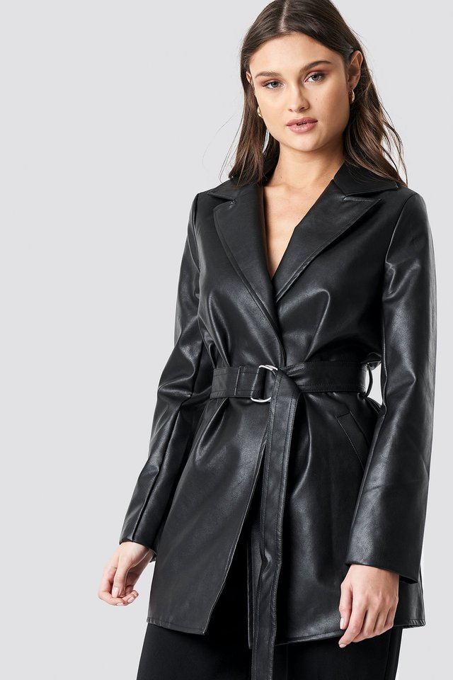 PU Leather Belted Jacket Black