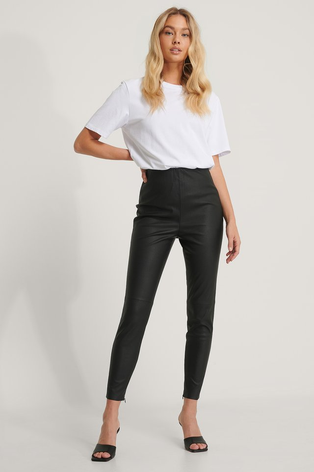 Black Recycled PU-leggings