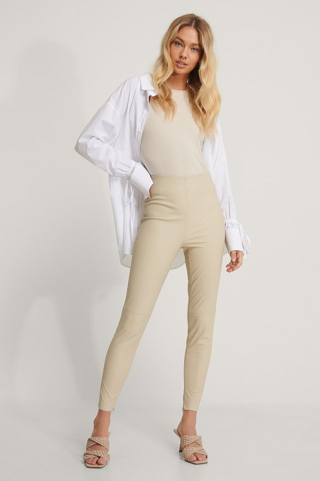 Beige Recycled PU Leggings