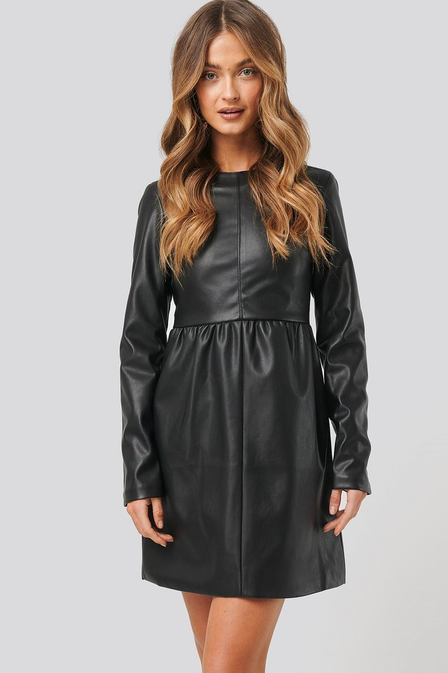 PU Long Sleeve Mini Dress Black