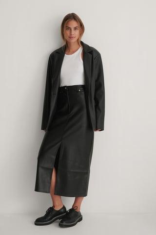 Black PU Long Slit Skirt