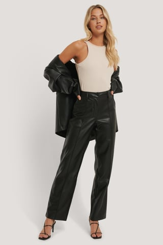 Black PU Mid Rise Pants