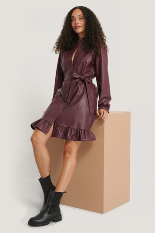 Burgundy PU Midi Dress