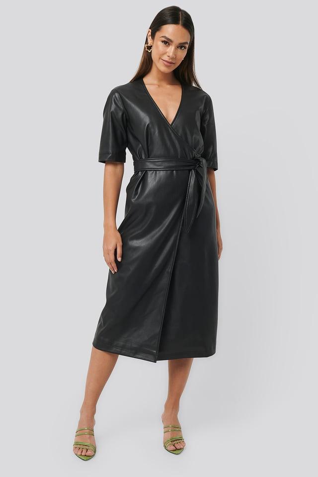 Black Soft PU Overlap Midi Dress