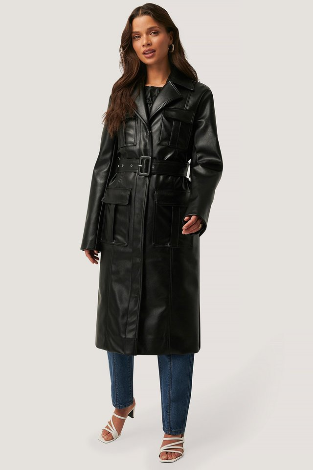 PU Pocket Coat Black