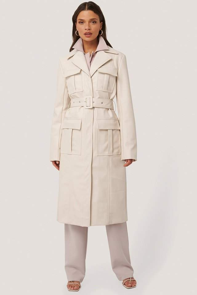 PU Pocket Coat Offwhite