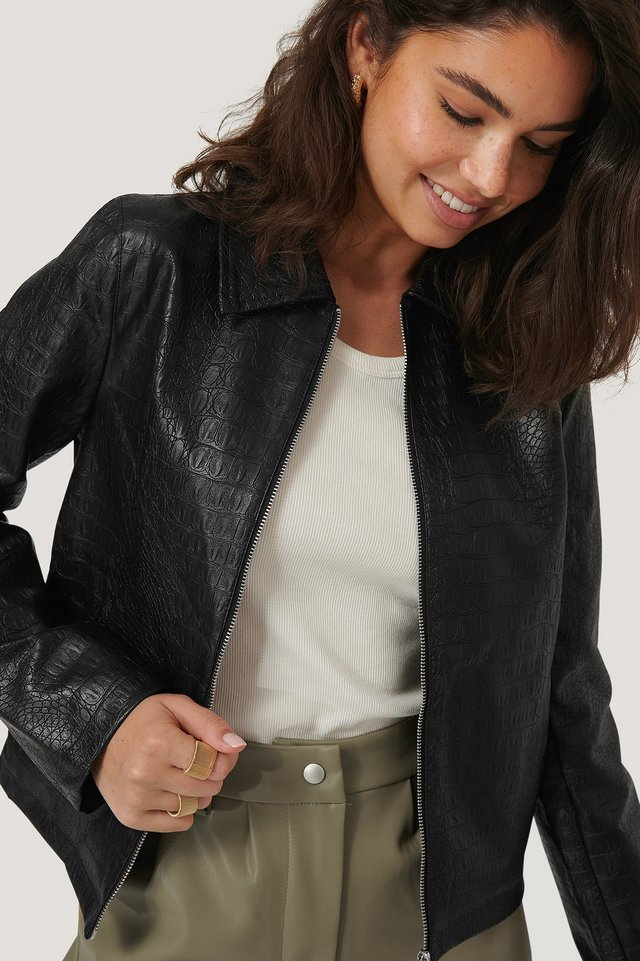 Black PU Reptile Zip Jacket