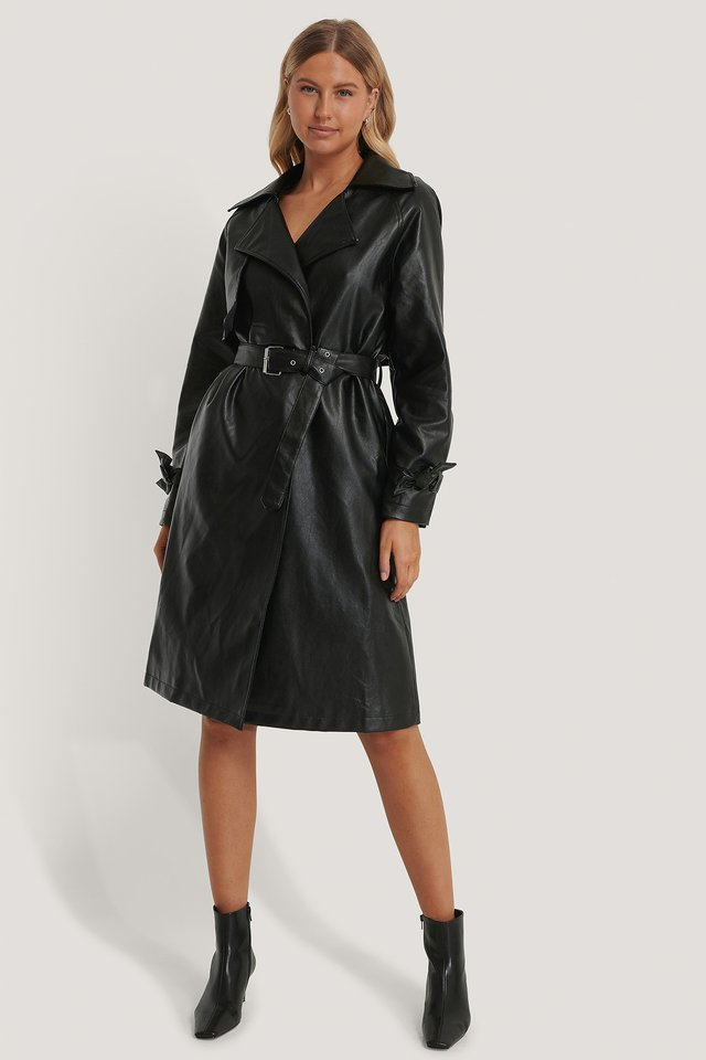 PU Trench Coat Black