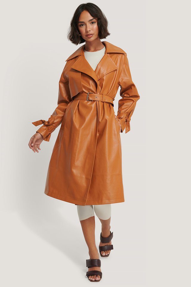 PU Trench Coat Orange