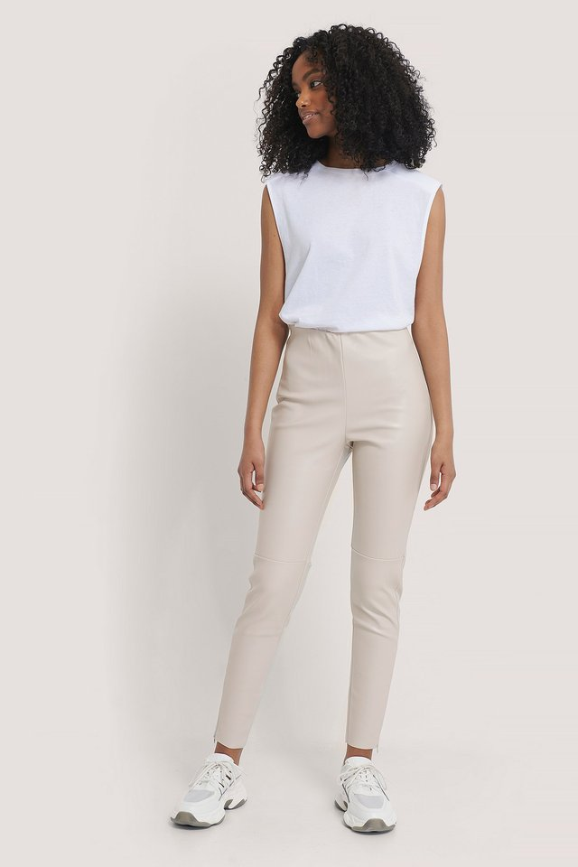 PU Zipper Pants Offwhite