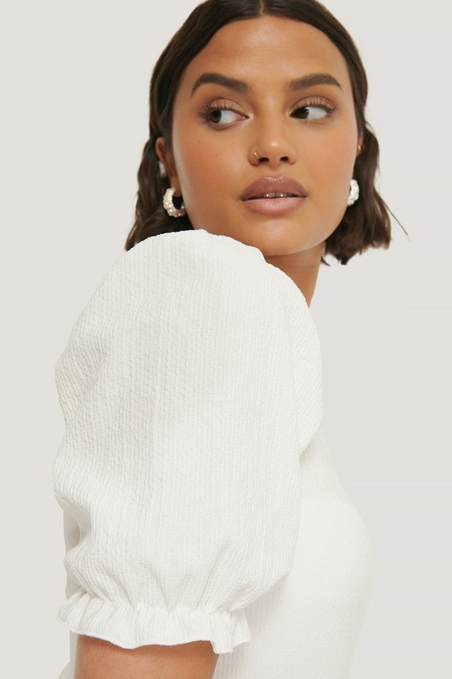 Puff Crepe Top Offwhite