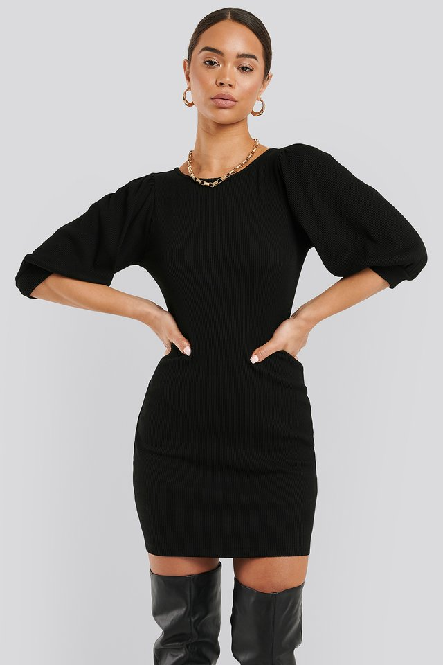 Puff Half Sleeve Ribbed Mini Dress Black