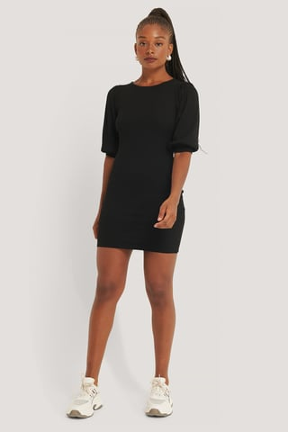 Black Puff Half Sleeve Ribbed Mini Dress