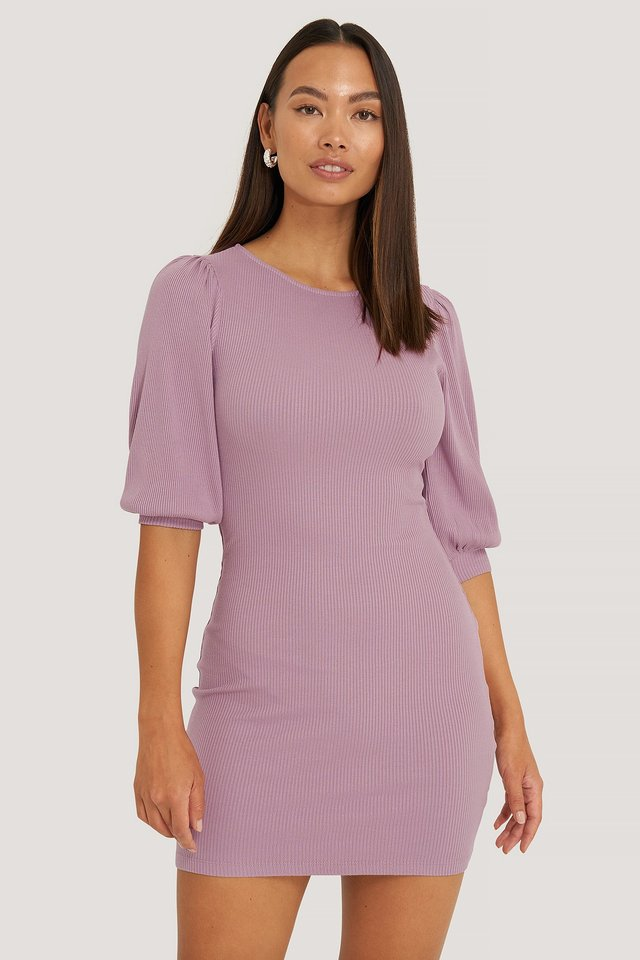 Purple Puff Half Sleeve Ribbed Mini Dress