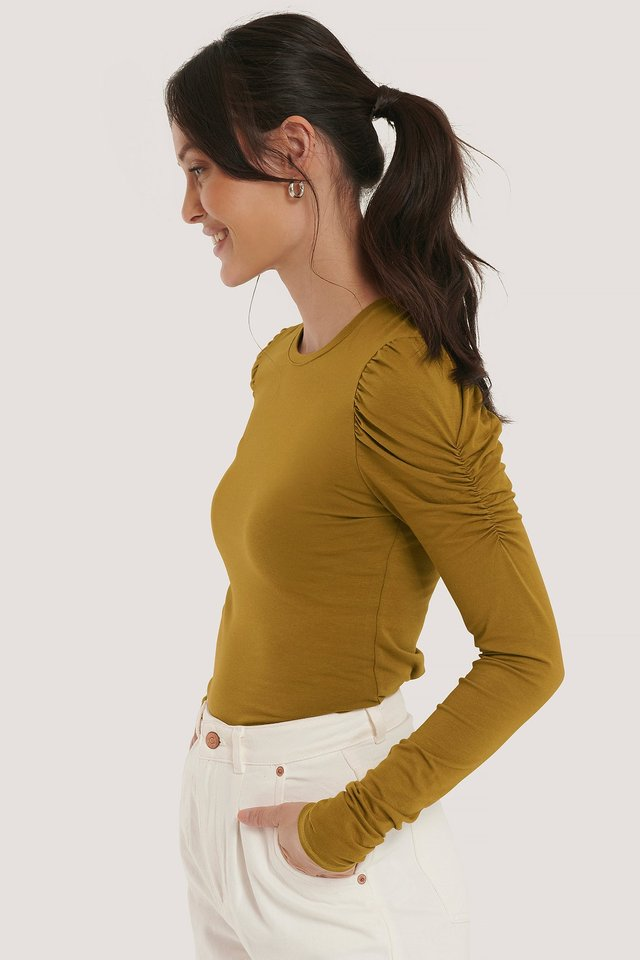 Puff Long Sleeve Jersey Top Khaki