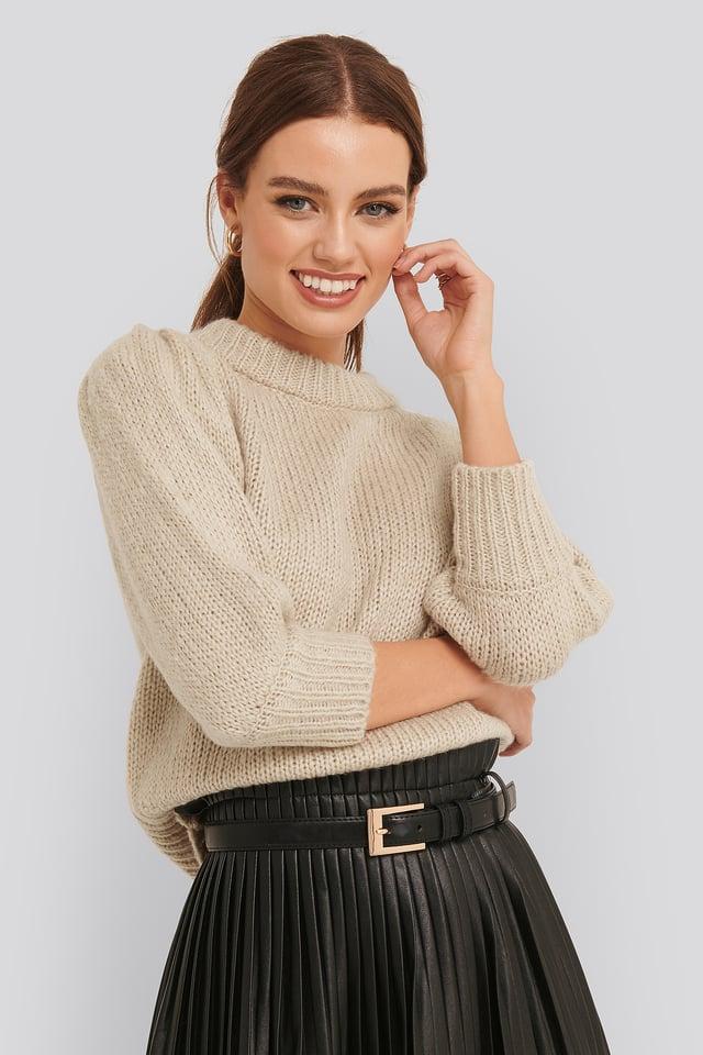 Puff LS Round Neck Knitted Sweater Beige
