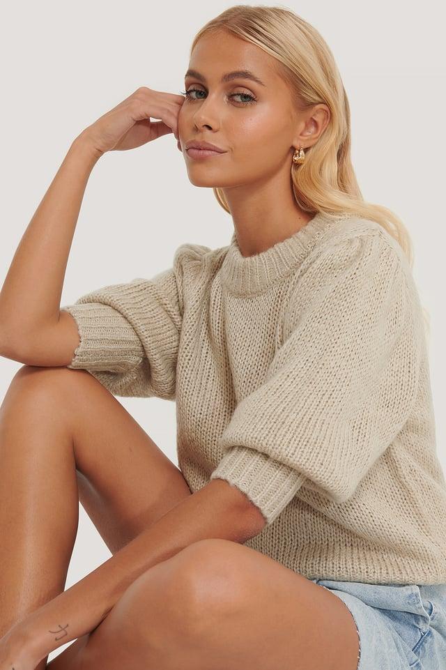 Beige Puff LS Round Neck Knitted Sweater