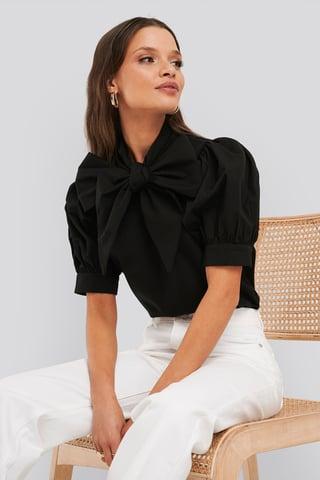 Deep Black Puff Short Sleeve Pussy Bow Shirt