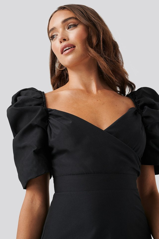 Puff Shoulder A-Line Dress Black