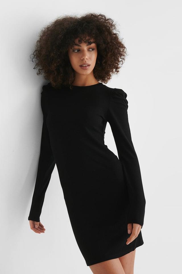 Black Puff Shoulder Long Sleeve Dress