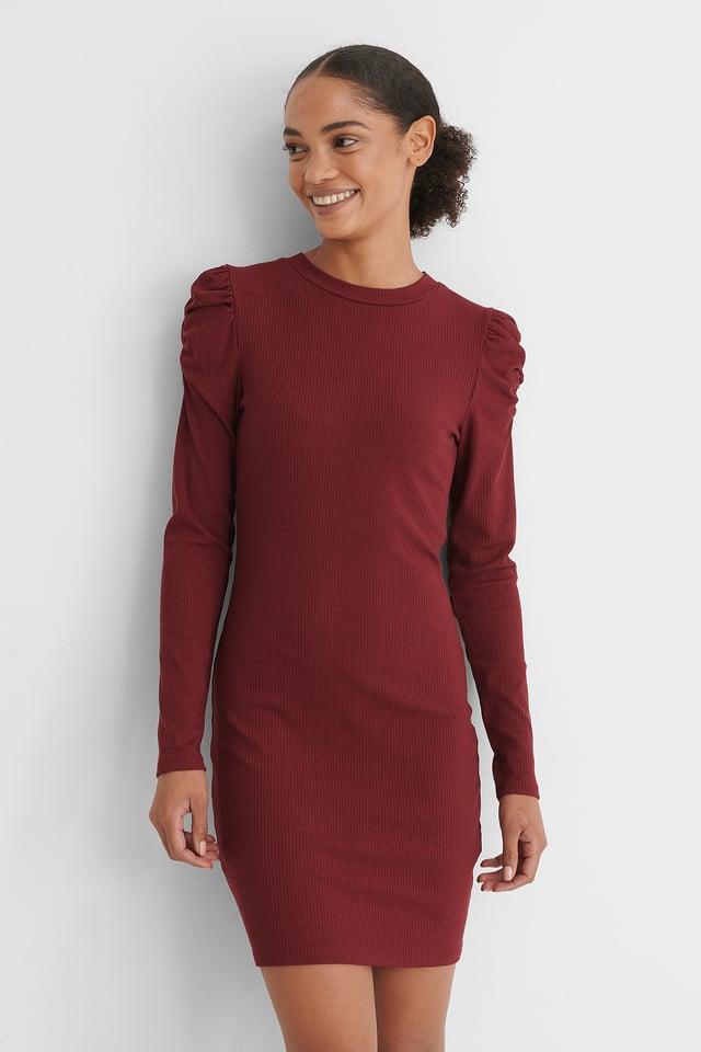 Puff Shoulder Long Sleeve Dress Burgundy