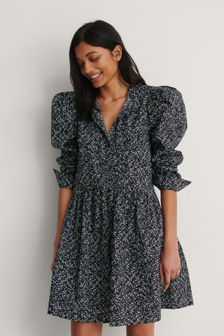 Black/Flower Print Puff Shoulder LS Buttoned Dress