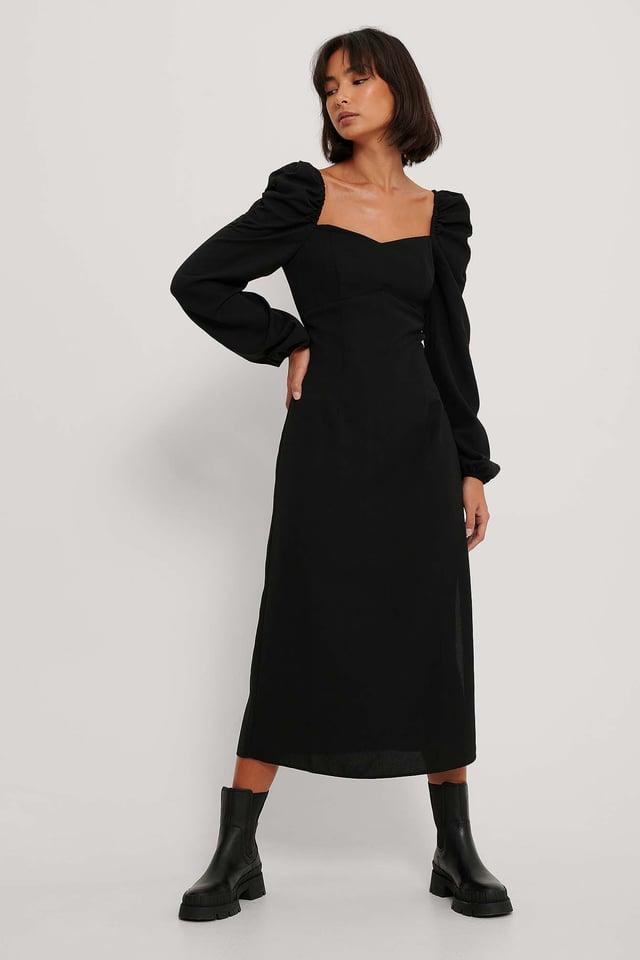 Puff Shoulder Midi Dress Black