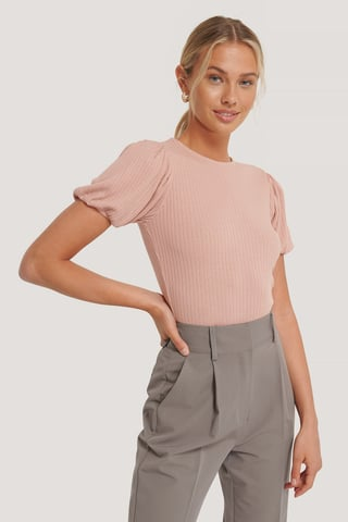 Dusty Pink Puff Shoulder Rib Top