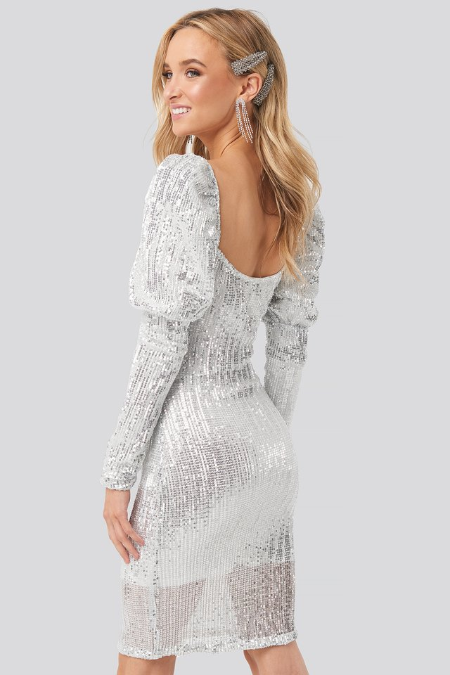 Puff Shoulder Sequin Mini Dress Silver