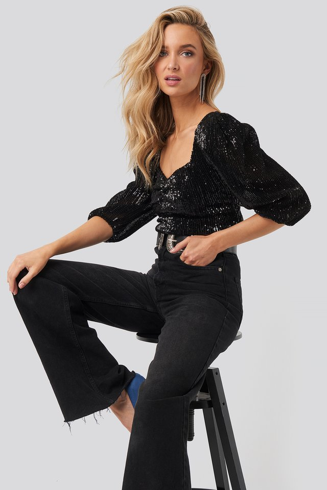 Puff Shoulder Sequin Top Black