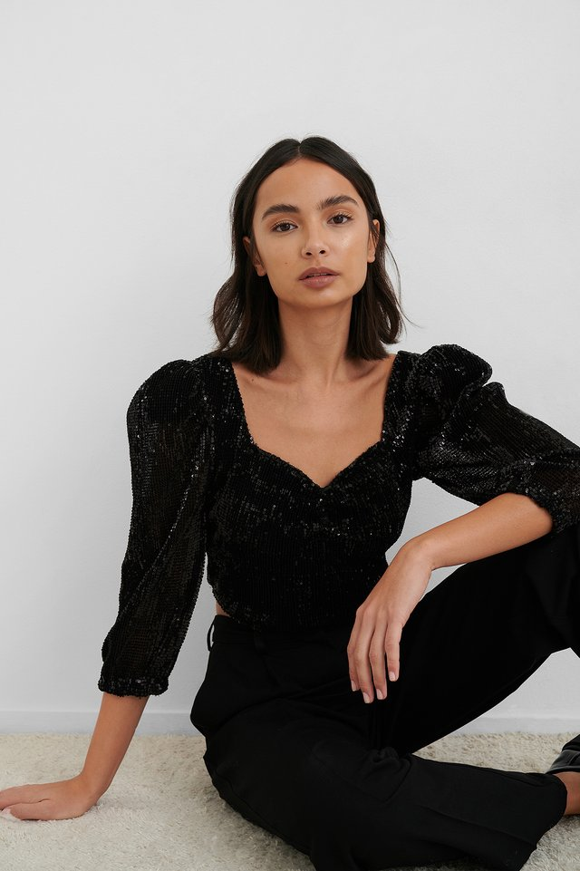 Puff Shoulder Sequin Top NA-KD Party