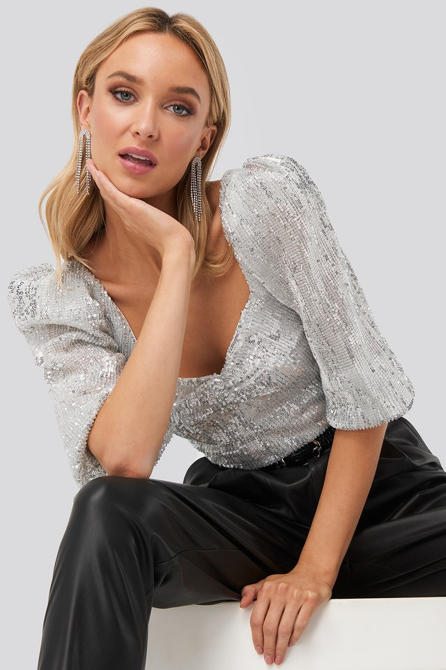 Puff Shoulder Sequin Top Silver