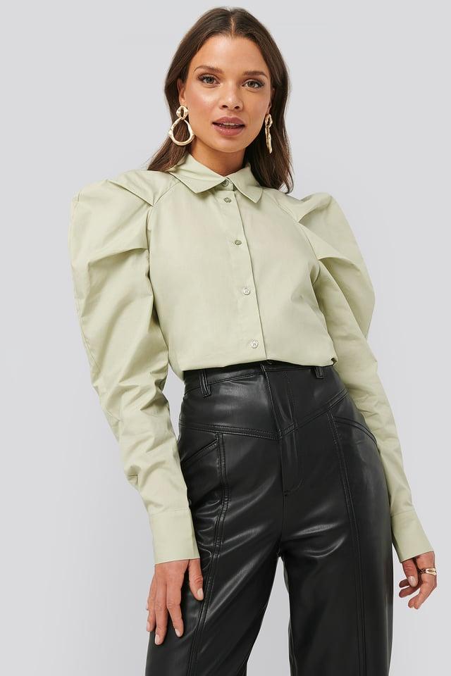 Puff Shoulder Shirt Dusty Light Green