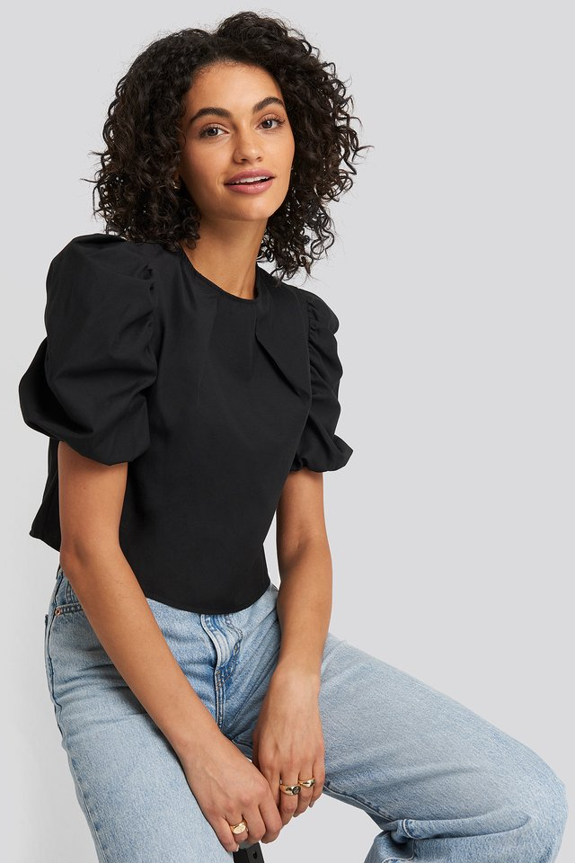 Puff Shoulder Short Sleeve Blouse Black