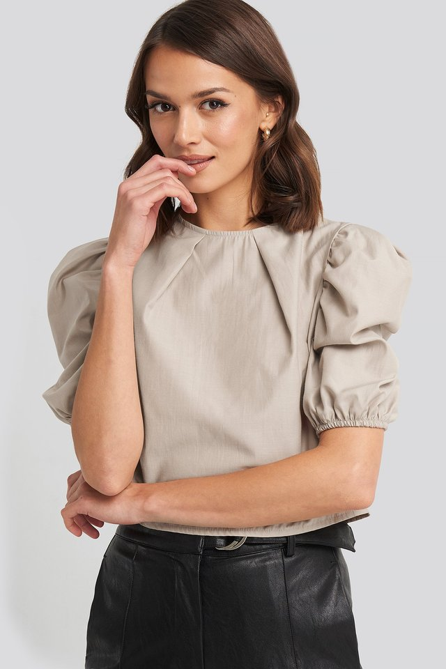 Puff Shoulder Short Sleeve Blouse Beige