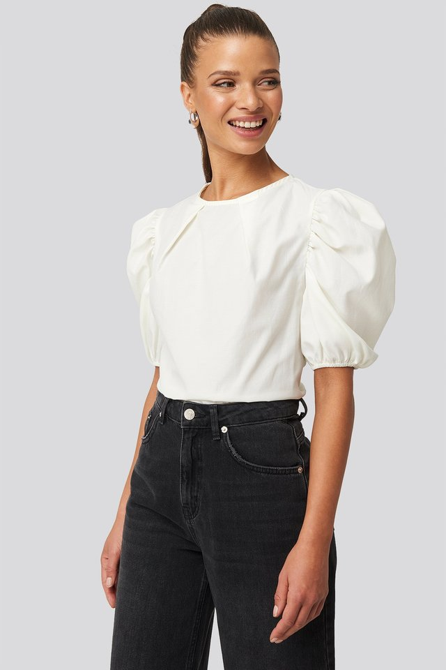 Puff Shoulder Short Sleeve Blouse Off White