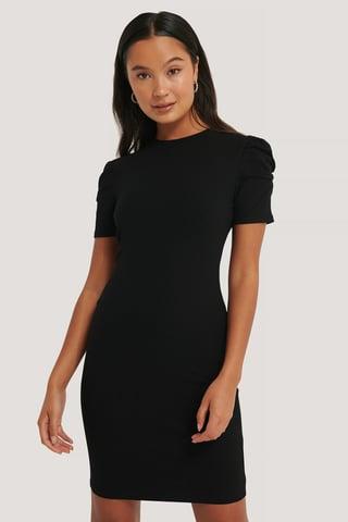 Black Puff Shoulder Short Sleeve Dress