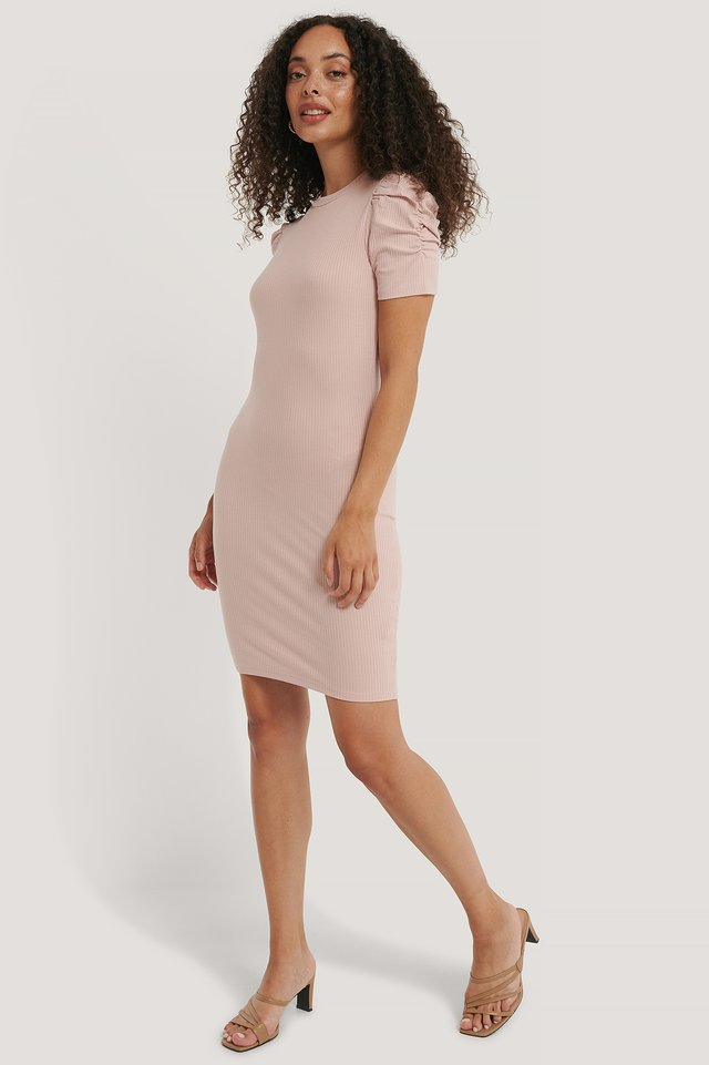Puff Shoulder Short Sleeve Dress Dusty Light Pink